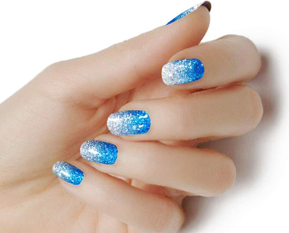 Express Manicure 100 Nail Polish Strips Blue Ombre Glitter 18 Double Ended Strips Non Toxic Amazon Co Uk Beauty