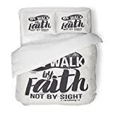 SanChic Duvet Cover Set Jesus Biblical Christian Lettering We Walk Faith Not Sight Corinthians 7 Quote Decorative Bedding Set 2 Pillow Shams King Size