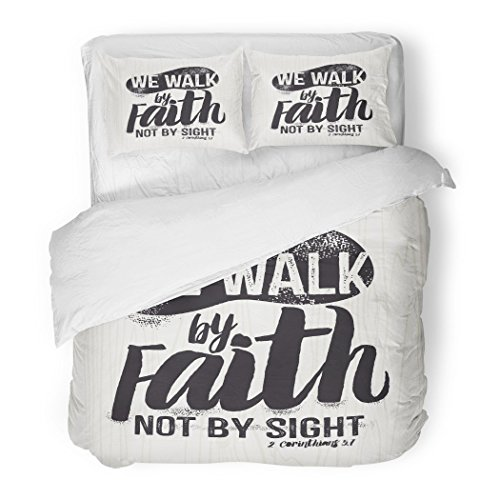 SanChic Duvet Cover Set Jesus Biblical Christian Lettering We Walk Faith Not Sight Corinthians 7 Quote Decorative Bedding Set 2 Pillow Shams King Size by SanChic