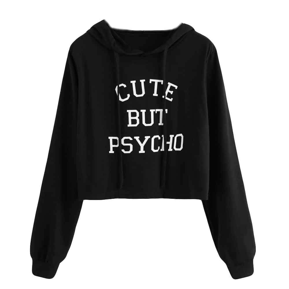 FeiBeauty Frauen kurz langarm einfarbig Cute But Psycho Brief Print Hoodie Sweat Sweatshirt Fashion Vibrant Sweatshirt