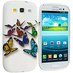 Accessory Planet(TM) Blue Colorful Butterfly TPU Design Soft Rubber Case Cover Accessory for Samsung Galaxy S III S3