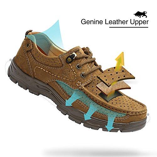 Camel Heren Casual Wandelschoenen Leer Lichtgewicht Comfortabele Anti-slip Loafers Voor Het Bedrijfsleven Werken Buiten Khaki