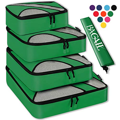 4 Set Packing Cubes,Travel Luggage Packing Organizers with Laundry Bag Lime Green