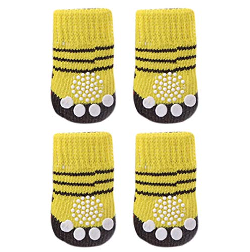 Knit Dog Booties - AMA(TM) Hot Dog Socks 4PCS Cute Pet Puppy Small Dog Doggie Anti-Slip Knit Weave Keep Warm Thick Socks Shoes Booties Skid Bottom (S, Yellow)