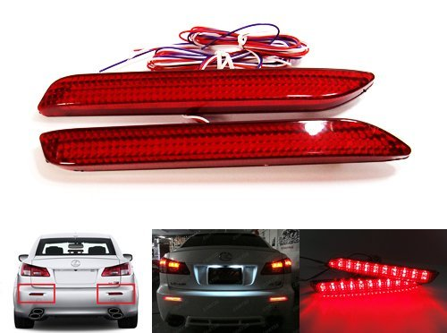 LEDIN Red Lens SMD LED Rear Bumper Reflector as Tail Brake Stop Light Fog Toyota Lexus ()