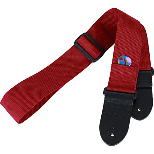 Protec Guitar Strap featuring Thick Leather Ends and Pick Po