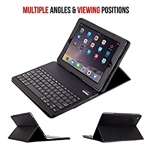 iPad mini Keyboard + Leather Case, Alpatronix KX101 Bluetooth iPad mini Keyboard Smart Case w/ Removable Wireless Keyboard, Folio Protection & Built-in Tablet Stand for iPad mini 4, 3, 2, 1 - Black