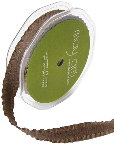 May Arts 5/8-Inch Wide Ribbon, Brown Faux Faux Suede with Ruffled Edge (Suede Faux Ribbon)