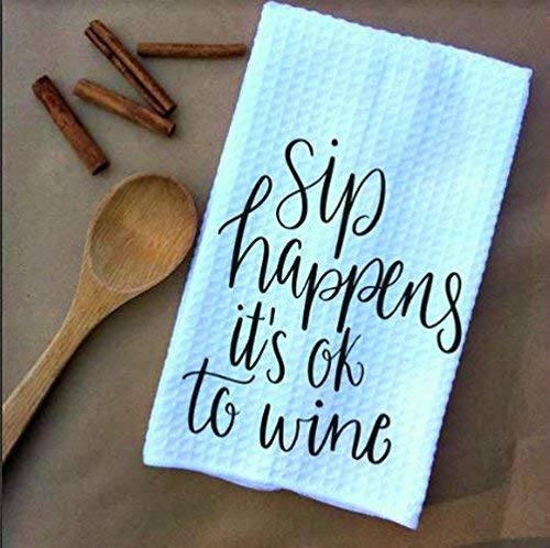 (Sip Happens it's ok to Wine Waffle Weave Kitchen Towels Drying Cloth 16inch X 24inch White)