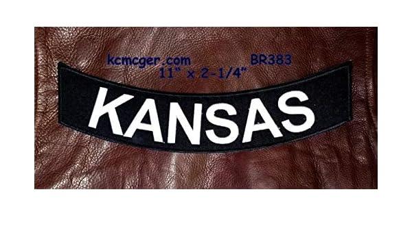 KANSAS White on Black  Bottom Rocker Patches for Vest jacket BR383