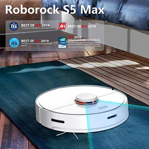 Roborock S5 Max Aspirateur Robot avec Fonction Nettoyage, aspirateur Robot Intelligent avec 2000 Pa d'aspiration et Connexion Wi-FI pour Poils d'animaux, Tapis et Tous Types de sols - Home Robots