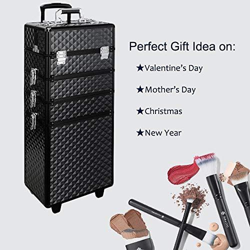 Qivange Makeup Train Case,4 in 1 Professional Rolling Makeup Trolley Case Aluminum Artists Jewelry Cosmetic Storage Case/w 2 Wheels(Diamond Black) by Qivange (Image #2)