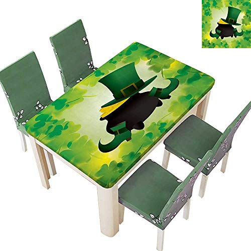 SpillProof Tablecloth Leprechaun Hat and Sho Costume Pot Gold Shamrock Leav Green for Picnic,Outdoor or Indoor 50 x 102 Inch (Elastic -
