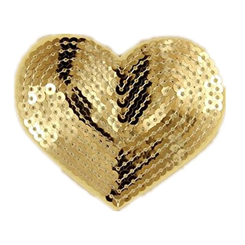 Ximkee Pack of 10 Shiny Heart Sequins Iron on Applique Embroidered Patches-Gold Embroidered Sequin Applique