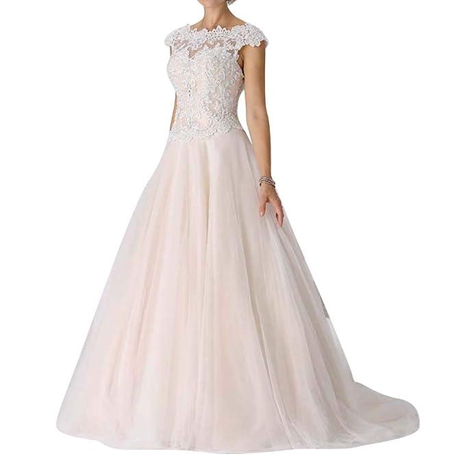 Amazon.com: Vestido de novia de encaje sin mangas, vestido ...