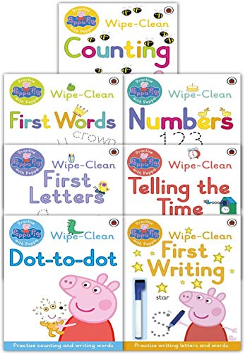 (Peppa Pig Wipe Clean Collection 7 Books Set Pack with Pen - First Writing, First Numbers, Telling the Time, First Words, First Counting, First Letters, Dot to Dot)