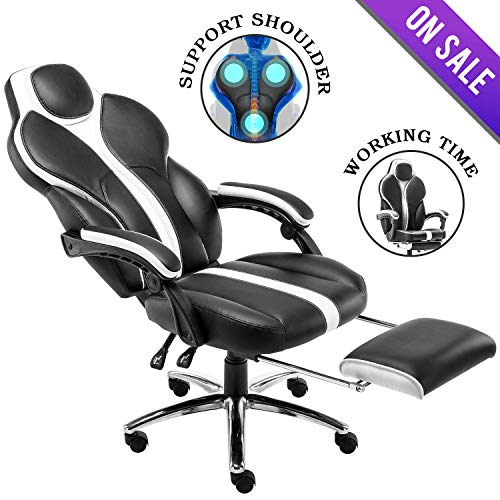 Kerms Gaming Chair Ergonomic High Back PU Leather Racing Style with Adjustable Armrest and Back Recliner Swivel Rocker Office Chair Black/White