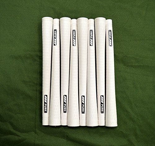 8 Pure Pro Golf Grips - Standard - White - Includes Free Bra