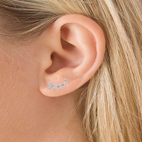 0,10carat (ctw) en argent sterling boucles d'oreilles en forme de diamant blanc étoiles Mesdames grimpeur 1/10ct
