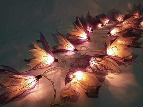 GaanZaLive36 Thai Handmade 20 Romantic Natural Bodhi Leaf Flower Fairy String Lights Patio Wedding Party Vanity Kid Wall Lamp Floral Home Decor 3.5m (White-Purple)