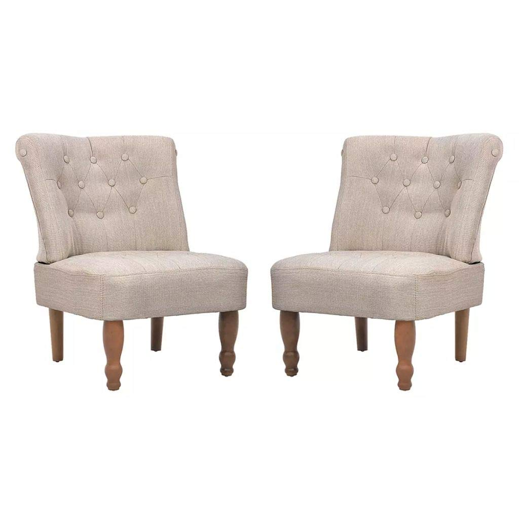 XINGLIEU Französischer Sessel 2 Stk. Polstersessel Retro Ohrensessel Stoff Stoff Stoff Relaxsessel Creme 54 x 66,5 x 70 cm 5aca86