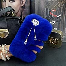 iPhone 4/4s Case - LU2000 Beaver Rabbit Furry Case With Double [Pendant Series] Tassels Luxury Fur Fluffy Handmade Phone Cover Bling Pearl Crystals Diamond Trimming - Blue