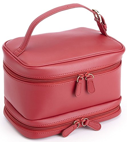 ROYCE Luxury Travel Cosmetic Makeup Bag in Genuine Leather -Red by Royce Leather