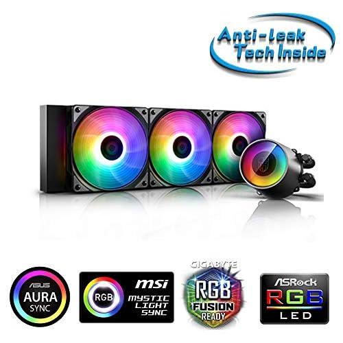 chollos oferta descuentos barato DeepCool Castle 360 RGB V2 Sistema de refrigeración antipalanca radiador de 360 mm disipador de líquido RGB Rainbow Addressable 5 V Add RGB 3 Pines Compatible con Intel 115X 2066 y AMD TR4 AM4