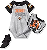"NFL Infant ""Blitz"" Onesie, Bib and Bootie Set-Heather Grey-24 Months, Cincinnati Bengals"