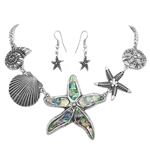 Mixed Sealife Nautical Boutique Statement Silver Tone Necklace & Dangle Earrings Set (Abalone Shell -