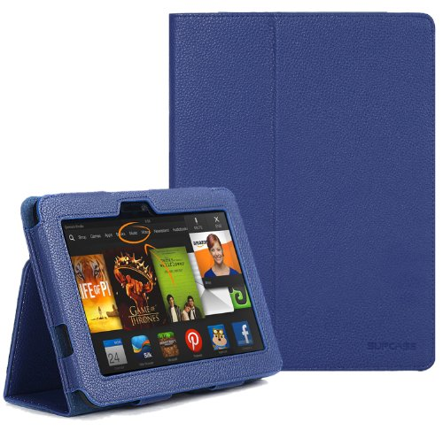 """Photo - SUPCASE Amazon All-New Kindle Fire HDX 7"""" Slim Fit Folio Leather Case (Sapphire Blue) - Elastic Hand Strap, Not Compatible with All New Kindle Fire HD 7""""/Kindle Fire HD 7"""" (2012 Version)/Kindle Fire HDX 8.9"""""""