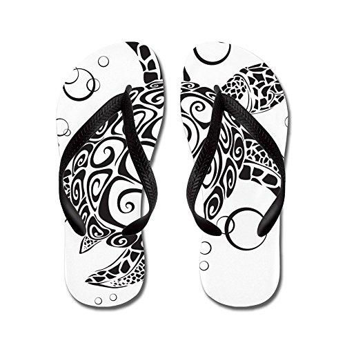 Cafepress Zeeschildpad - Flip Flops, Grappige String Sandalen, Strand Sandalen Zwart