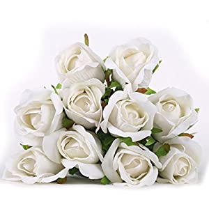 Luyue Artificial Silk Rose Flower Bouquet Wedding Party Home Decor, Pack of 10 12