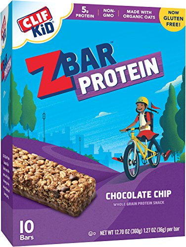Clif Kid ZBAR – Protein Snack Bar – Chocolate Chip (1.27 Ounce Gluten Free Bar, 10 Count)