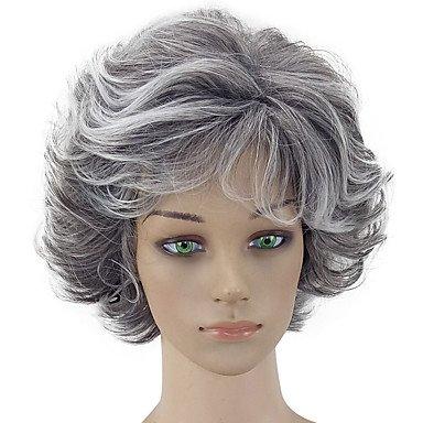 Hairjoy donne parrucca sintetica corta ricci grigio rivestito di taglio di  capelli naturali parrucche costume WIG  Amazon.it  Bellezza 1ccf4eb6c706