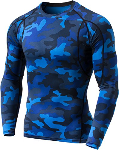 TM-MUD11-MBL_Small Tesla Men's Long Sleeve T-Shirt Baselayer Cool Dry Compression Top MUD11