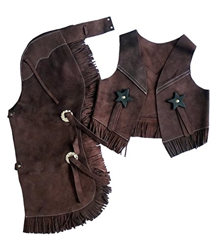 - Equitem Children's Suede Leather Western Chaps and Vest Set (Brown, Large (7-10))
