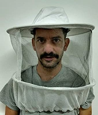 Beekeeper veil white hat round top w/ elastic under arm straps by primeonly27