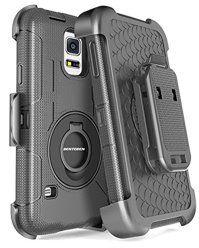 BENTOBEN Galaxy S5 Case, Galaxy S5 Case, Hybrid Protective Shockproof Soft Rubber&Hard Case with Rotating Kickstand Belt Clip Holster Cover Case for Samsung Galaxy S5 S V I9600 GS5 All Carriers, Black ()