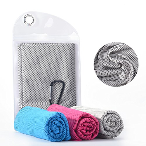 TeaMaX Cooling Towel, Cool Towel for Instant Relief, Yoga Towel, Chilly Towel for Men or Women, Ice Cold Scarf for Gym, Sports, Fever or Golf, 40