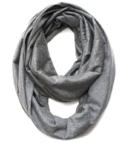 Infinity Jersey - KMystic Large Solid Color Infinity Loop Jersey Scarf (Heather Grey)