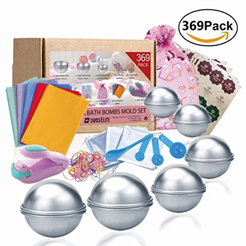 Bath Bomb Mold Set 369 Pcs - 3 size DIY Mould , Spoons set ,Warp bags , gift bags, rubber bands, Hand Made stickers,wrapping papers and mini sealer set for Crafting your own Fizzles by SWISSELITE