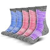 RULUS 5-Pairs 3-Colors Women's Multi Performance Cushion Outdoor Sports Hiking Moisture Wicking Trekking Crew Socks