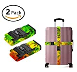 YEAHSPACE 2PC Set Marijuana Weed Leaves Luggage Straps TSA Approved Lock Suitcase Belts Travel Tags Accessories