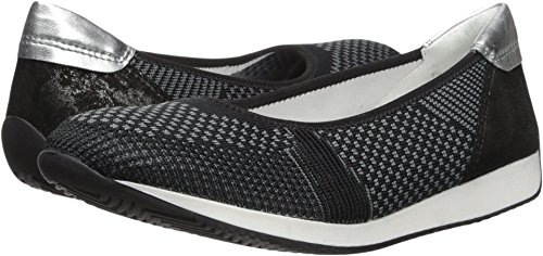 ara Women's Lauren Ballet Flat, Black Woven, 8.5 M US