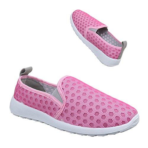 Ital-Design Damen Schuhe, C27-15, Halbschuhe Sportliche Slipper Pink