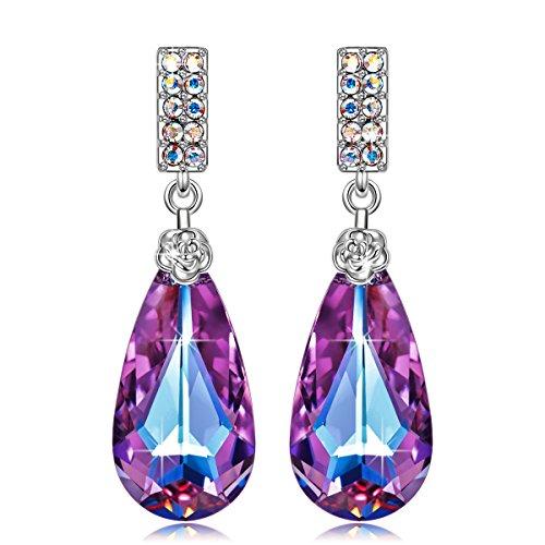 SIVERY Women Drop Earrings Teardrop of Angel Stud Dangle Earrings with Purple Swarovski Crystals, Jewelry for Women Gifts for Mom
