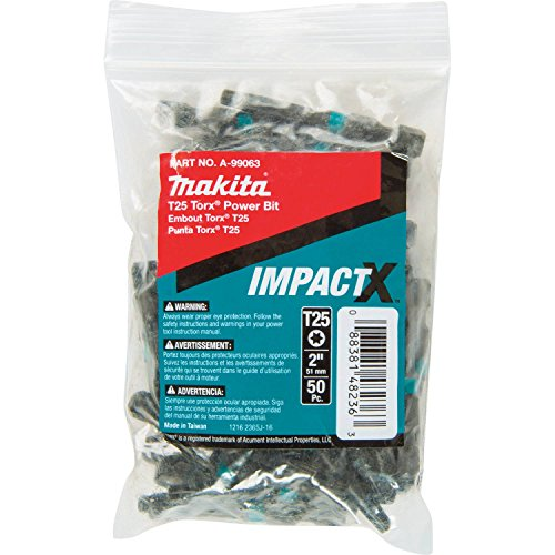(Makita A-99063 Impactx T25 Torx 2″ Power Bit, 50 Pack, Bulk)