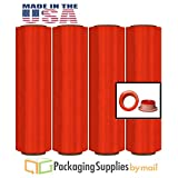 4 Rolls Red Color Pre-Stretch Wrap Film with Folded Edges 17'' x 1476', (8.5 Mic.) + Free Dispenser