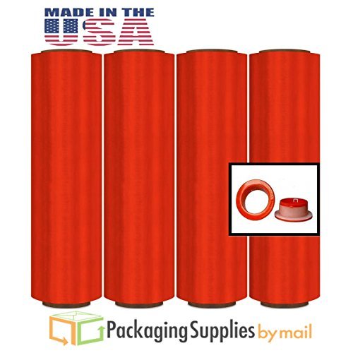 Advanced Red Color Pre-Stretch Wrap Film w/ Folded Edge 16'' x 1500', 8.5 mic 16 Rolls with Free Dispenser by PackagingSuppliesByMail